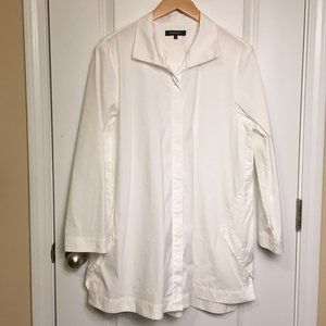 Lafayette 148 New York Marla Tunic Blouse White XL